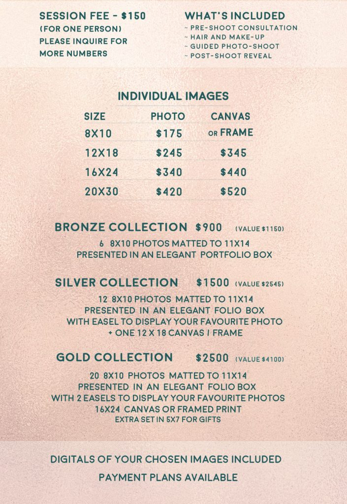 Joy Studio - beauty / legacy / kids and family portraits pricing